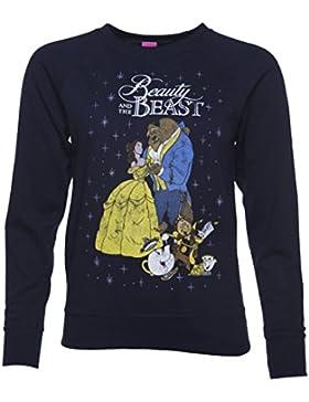 Bellezza femminile blu marino classico Disney e il maglione di bestia