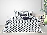Aminata edle Bettwäsche 135x200 blau weiss Punkte Baumwolle Teenager Reißverschluss