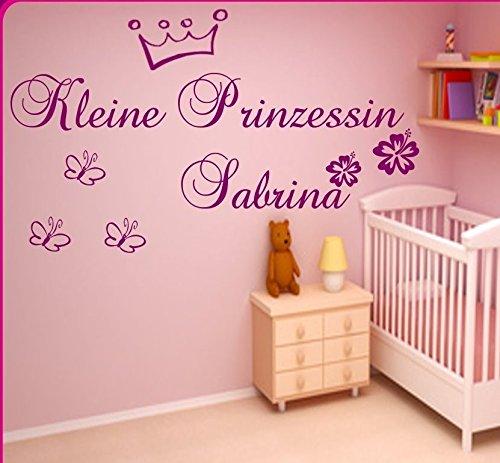Wandtattoo Kinderzimmer ++Kleine Prinzessin ++ personalisiert mit dem Namen ihres Kindes ,Hibiskus-Blüten und Krone exclusiv für sie gefertigt in 21 Top Farben Auswählbar (Krone Wandtattoo Prinzessin)