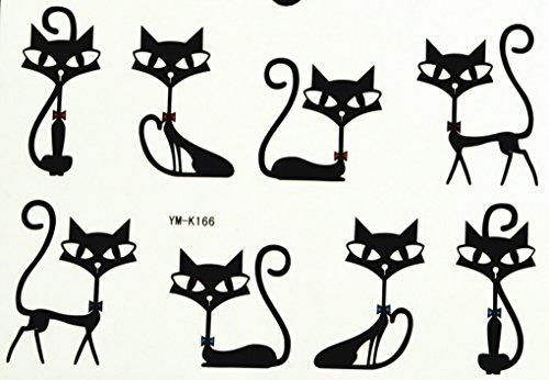GRASHINE modisches Design fake fake und realistische temporäre Tattoos für Männer und Frauen Liebe und niedliche schwarze Katzen (Lieben Männer Katzen Echte)