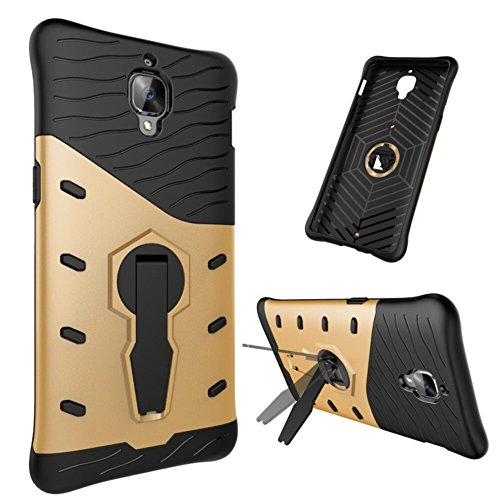 Für OnePlus 3T Armor Cover, 2 In 1 Durable TPU + PC Heavy Duty 360 ° Drehender Stand Dual Layer Shockproof Case Cover ( Color : Black ) Silver