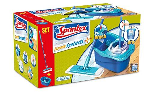 Spontex - Express System - Kit Balai plat + Seau à essorage rotatif