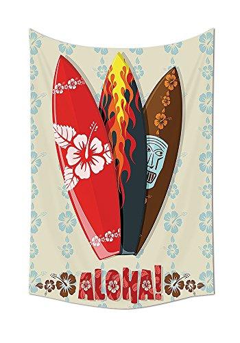 Hawaiian Geschenke Aloha Hawaii Surfbretter, Tiki tropischen Blumen Orchideen Surf Beach Volcano indischen Federn Tapisserie Wand Colorful Wohnzimmer Schlafzimmer Wohnheim Decor Beige Rot Braun Schwarz, mehrfarbig, 51.1W By 59L Inch (Twin-schwarz-holz-bett)