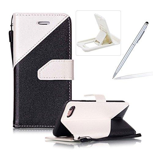 Pour iPhone 7 4.7 inch Coque Lanyard Dragonne Portefeuille étui en cuir PU, pour iPhone 7 4.7 inch Flip magnétique Cas avec support Béquille de carte,Herzzer Créatif Simple Book Style [Plume Conceptio Blanc