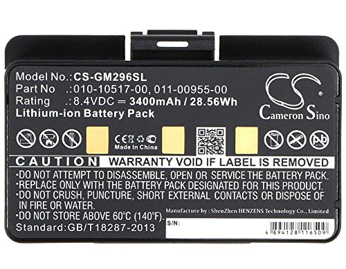 CS-GM296SL Akku 3400mAh Kompatibel mit [Garmin] 010-00543-00, 100054300, 3580100054300, EGM478, GPSMAP 276, GPSMAP 276c, GPSMAP 296, GPSMAP 376, GPSMAP 376C, GPSMAP 378, GPSMAP 396, GPSMAP 478, GPSMA 376c Gps