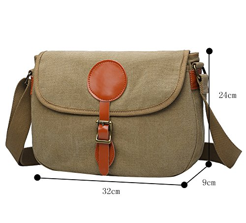 Genda 2Archer Uomo Casuale Messenger Bag Flap Borsa di Tela Climbing/Campus Bag (32cm * 9cm * 24cm) (Kaki) Kaki