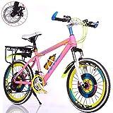 Bike Kinderfahrräder 21 Geschwindigkeit Fahrräder 20 Zoll Mountainbikes Für Jungen Und Mädchen Scheibenbremse,8