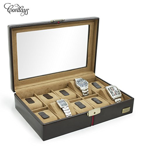 Cordays Handcrafted 10 Grid Watch Box in Brown European Leather with Top Glass Display Premium Quality CDM-00003A