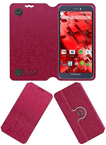 Acm Designer Rotating Flip Flap Case for Panasonic P55 Novo Mobile Cover Pink