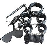 UNIMM - Juego de bondage para adultos, 7 piezas, piel sintética, negro, talla única