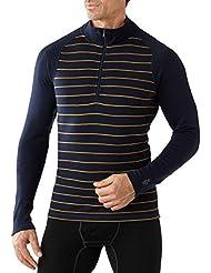 Smartwool NTS Mid 250Motif Zip T-shirt pour homme-Bleu marine foncé/Sunglow Heather