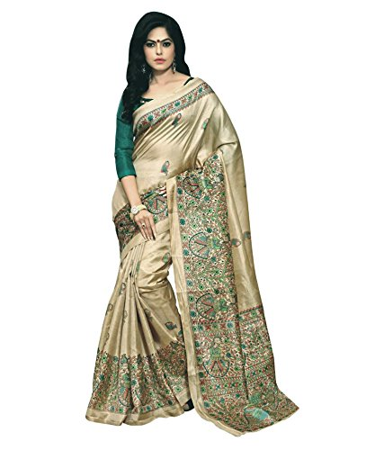 Aarvicouture Women\'S Cotton Silk Ready Pleated Saree (Ac-Sr-7778_Beige)