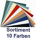 Einbanddeckel in Lederstruktur, Sortiment 10 Farben, Rückenkartons für Bindemaschine, Farbmix
