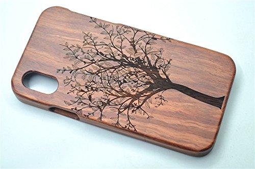 RoseFlower® Coque iPhone X 5.8'' en Bois Véritable - Crâne de palissandre - Fabriqué à la main en Bois / Bambou Naturel Housse / Étui Arbre de Noël en palissandre