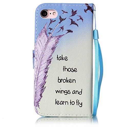 """iPhone 7 Coque Bleu Cuir Portefeuille Etui Rabat Style Coloré Peinture Image ( Petite maison ) Case pour Apple iPhone 7 4.7"""" Bleu-9"""