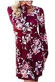 Zaywind Damen A-Linie Kleider Blumenmuster Langarm Casual Swing T-Shirt Kleid Knielang Tunika Mini Kleid Boho Strandkleid,  Gr.-XXL, Rot