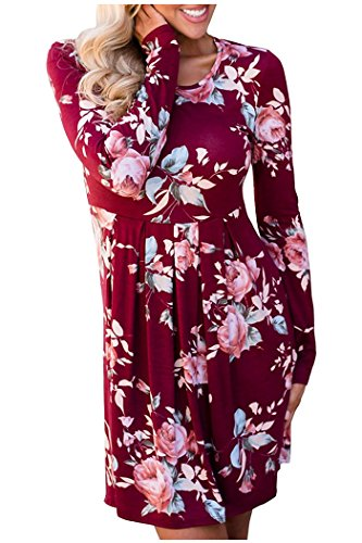Zaywind Damen A-Linie Kleider Blumenmuster Langarm Casual Swing T-Shirt Kleid Knielang Tunika Mini Kleid Boho Strandkleid,  Gr.-XL, Rot