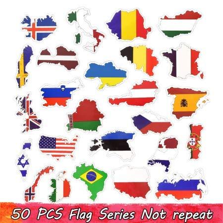 GYYNR Länder nationalflagge Aufkleber Spielzeug für Kinder fußball fußball Fans Aufkleber Aufkleber Scrapbooking Reisetasche Laptop Aufkleber 50 stücke -
