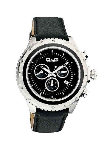 D&G Dolce&Gabbana Herren-Armbanduhr SIR CHR SS BLK DIAL BLK LEATHER STRAP DW0367