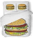 Ensemble de housse de couette 3 pièces en tissu microfibre brossé respirant rouge Macdonald Hamburger Burger américain belle boîte de boeuf pain pain fromage ensemble de literie avec 2 taies d'oreille