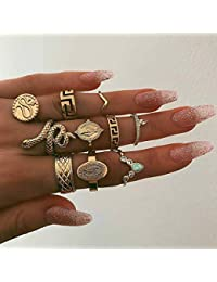 Edary Juego de anillos de nudillos vintage de serpiente, anillo de piedra preciosa, anillo dorado para nudillos de buena suerte para mujeres y niñas (10 piezas)