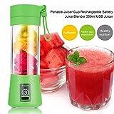 TOOGOO 380ml Vaso botella de licuadora recargable USB Batidora de citricos de jugo Exprimidores de batido de leche fruta verduras limon Botella de exprimideras: Verde