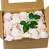 LoveinSide 50Pcs Fiori Artificiali Roese - Rose Finte Dall'Aspetto Reale, per Mazzi Fai da Te, Decorazioni per Matrimoni A Casa - Bianco & Champagne