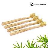 Planet Bamboo: 4er Pack Bambus Zahnbürsten (Kinder | Natur | Medium), Massageborsten