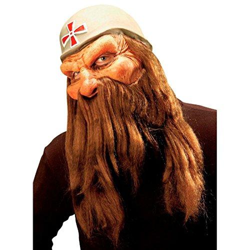 NET TOYS Wikingermaske Barbaren Maske mit Kreuzhelm Perücke und Bart Zwergen Vollmaske mit Vollbart Räuber Faschingsmaske Zwerg Krieger Langhaar Latexmaske Mittelalter Kostüm Zubehör (Zwerg Krieger Kostüm)