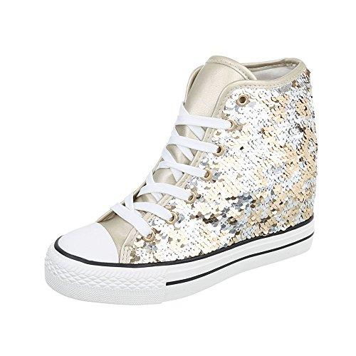 Ital-Design Sneakers High Damenschuhe High-Top Keilabsatz/Wedge Keilabsatz Schnürsenkel Freizeitschuhe Gold