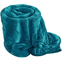 Egypto Fleece Blanket - Extra Soft Fur Brush Fabric, Super Warm Bed Throw, Lightweight Sofa Blanket, Easy Care (Single (127cm x 152cm), Teal)
