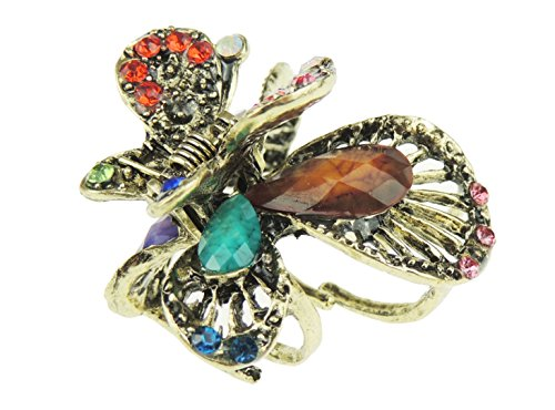 Damen-Haarklammer, bronzefarben, Metall, Strasssteine, klein, 4 cm, Schmetterlingsdesign