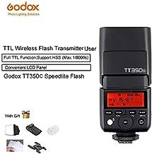 Godox TT350C Mini TTL 2.4G Wireless X System Speedlite Flash GN36 HSS 1/8000s Built-in 5D Mark III Digital for Canon EOS
