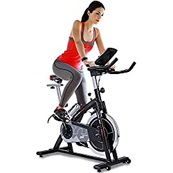 Sportstech professional Indoor Cycle SX200 with smartphone app control + Google Street View, 22KG flywheel, arm support, pulse belt compatible – Speedbike with low-noise belt drive system – bike ergometer up to 125 KG