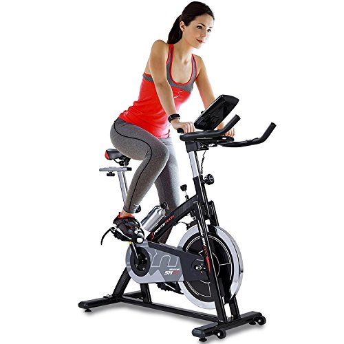 51pKEYLao2L. SS500  - Sportstech professional Indoor Cycle SX200 with smartphone app control, 22KG flywheel, arm support, pulse belt compatible - Speedbike with low-noise belt drive system