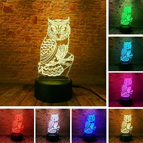 Neue 3D Eule LED Optische Täuschung Lampen Tischlampen Nachtlichter Hause Schlafzimmer Dekoration Kinder Baby Baby Schlafen Weihnachtsgeschenke