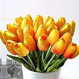 StillCool Blumen Tulpen Künstliche mit Blättern für Hochzeits-Blumenstrauß Deko Blumen Tischdeko Blumendeko Kunstblumen in 7 Farben Blumendekoration (Orange, 6)