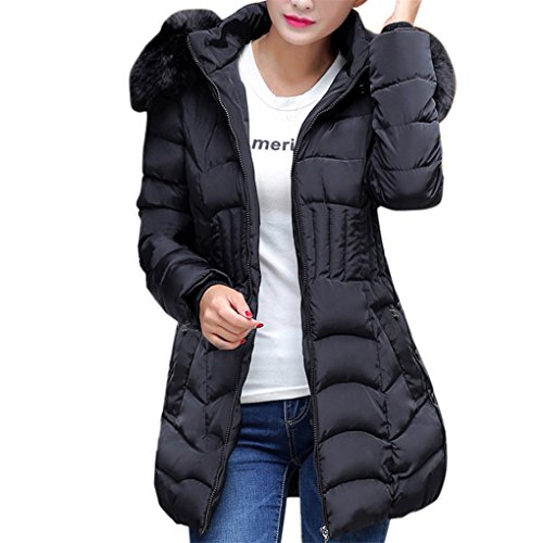 Frauenkleidung❀❀ JYJMFashion Winter Womens Long Jacket Warm Cotton Slim Coat Parka Trench Outwear (XL, Schwarz) (Womens Spann)