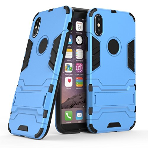 iPhone X Coque, Lantier Dual Layer Ultra Slim Anti-skid Hybrid Heavy Duty Armor Hard Defender Protective Case Cover with Horizontal Foldout Kickstand pour Apple iPhone X (5.8 inch) Gold Bleu