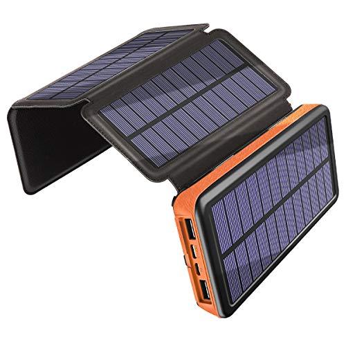 Solar Ladegerät 25000mAh, Draussen Energiebank mit 4 Solarpanels Dual USB-Anschluss und Notlicht, Tragbare Schockbeweis Powerbank für das Wandern von Campingreisen, Kompatibel mit Den Meisten Geräten -