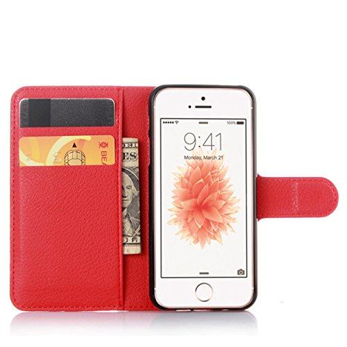 iPhone SE Coque, iPhone 5S Coque, Lifeturt [ Rouge ] Etui en Cuir Folio Magnétique Fermeture Housse Coque de Protection Coque Housse Etui avec Rangements de Cartes Ultra Slim Portefeuille PU Cuir Coqu E02-Rouge3381