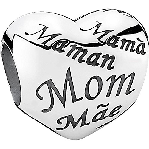 Pandora Damen-Charm 925 Sterling Silber Herz mit Schriftzug Mom in verschied. Sprachen 791112 (Mom Größe 10 Ringe)