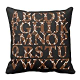 Bags-Online Home Decorative Brown and White Giraffe Print English Alphabet Pillowcase Cushion Cover Awesome Throw Pillow Cover Square 20X20 inch