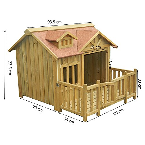 Luxus XL Hundehütte Hundehaus Massiv Holz mit Balkon Terasse - 3