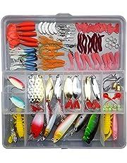 Proberos® 164pcs Fishing Lure Set Mixed Spoon Lure Kit Plier Soft Lure Minnow Popper Fishing Tackle Accessory in Box Fresh Water B225 104pcs