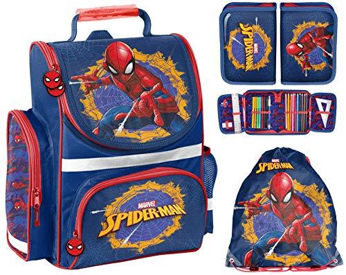 Schulranzen Set 3 teilig Ranzen Tornister Jungen Spiderman Blau Rot