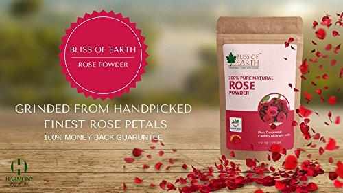 Bliss of Earth Pure Natural Rose Petals Powder, 100g