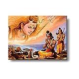 #7: YaYa cafe Lord Rama shivling pooja Canvas Wall Paintings, Hangings for Home Decor, Religious spiritual Hindu Sri Rama Navami Navratras Diwali Gifts - 24x18 inches