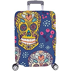 Funda de Trolley Spandex con diseño Floral de Skulls Protector de Equipaje Maleta Cubierta 28.5 x 20.5 Pulgadas