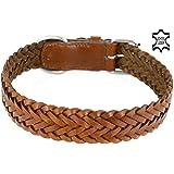 Hunde-Leder-Halsband von Monkimau, weiches Rindsleder, braun, breit, geflochten, für große Hunde, XL, Premium Qualität (35mm x 55cm)